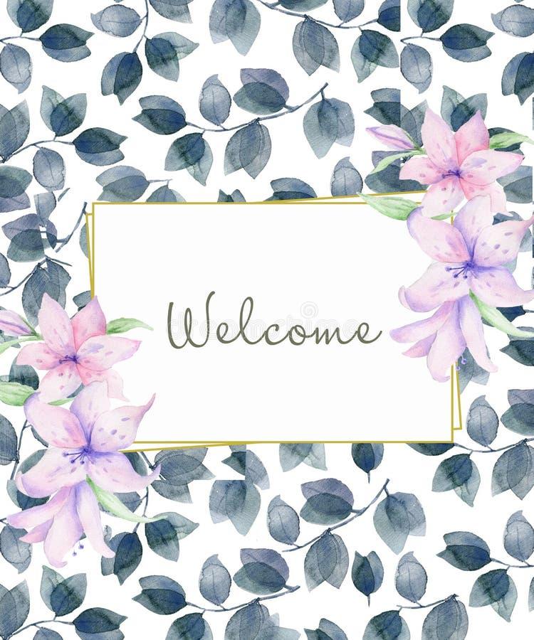 Горизонтальная флористическая рамка с розовыми розами и декоративными листьями Дизайн приглашения акварели Предпосылка для того ч иллюстрация вектора
