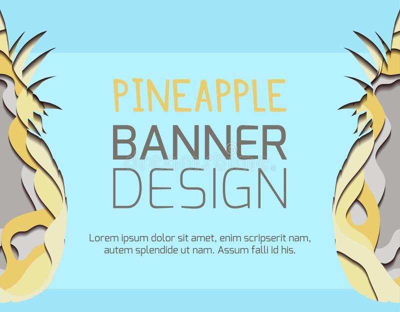 Горизонтальное знамя с бумажной иллюстрацией отрезка ананаса из бумаги Карта с разнослоистым влиянием 3d o иллюстрация штока