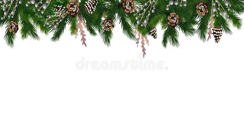 Горизонтальное знамя с гирляндой рождественской елки иллюстрация вектора