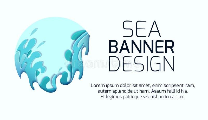 Горизонтальное знамя с жестокими волнами моря отрезанными из бумаги Карта с разнослоистым чертежом 3d потоков воды Шторм иллюстрация вектора