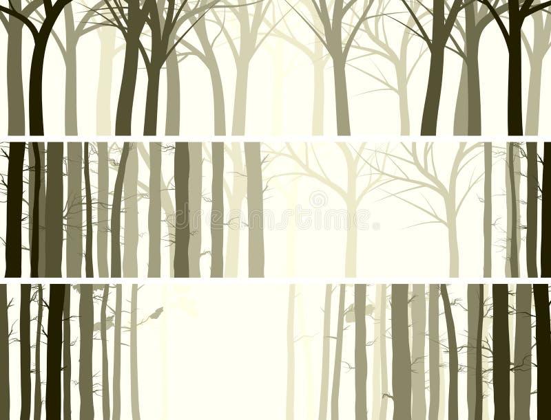 Горизонтальное знамя с много стволов дерева. иллюстрация штока