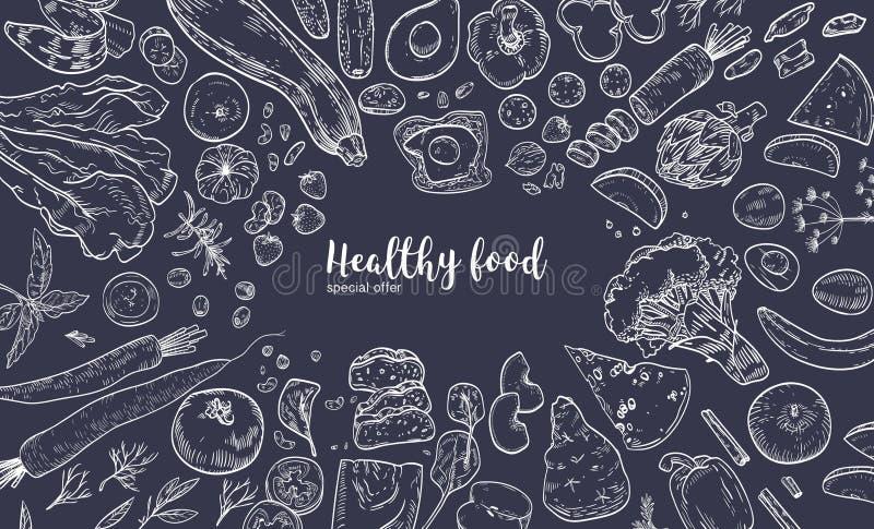 Горизонтальное знамя с рамкой состояло из различной здоровой или полезной еды, органических продуктов, фруктов и овощей иллюстрация штока