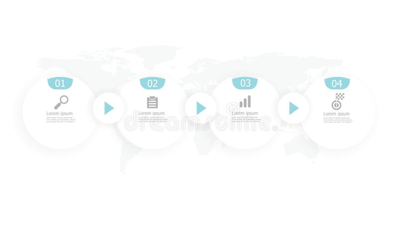 Горизонтальное infographics временной последовательности по круга иллюстрация штока