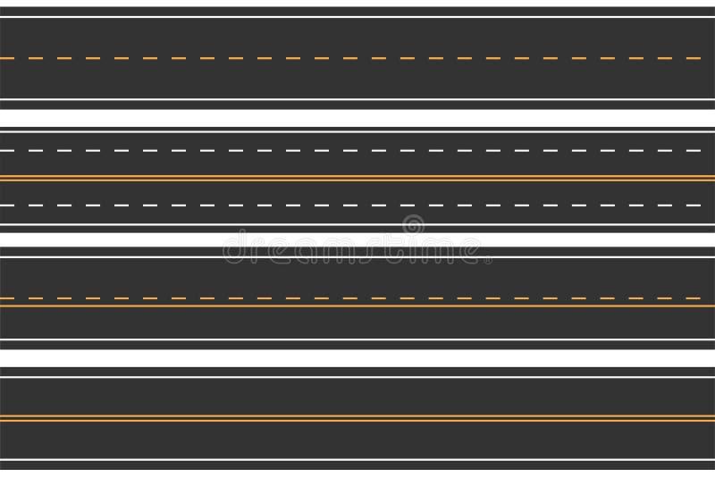 Горизонтальные безшовные дороги Комплект дороги асфальта с маркировками Прямой хайвей иллюстрация штока