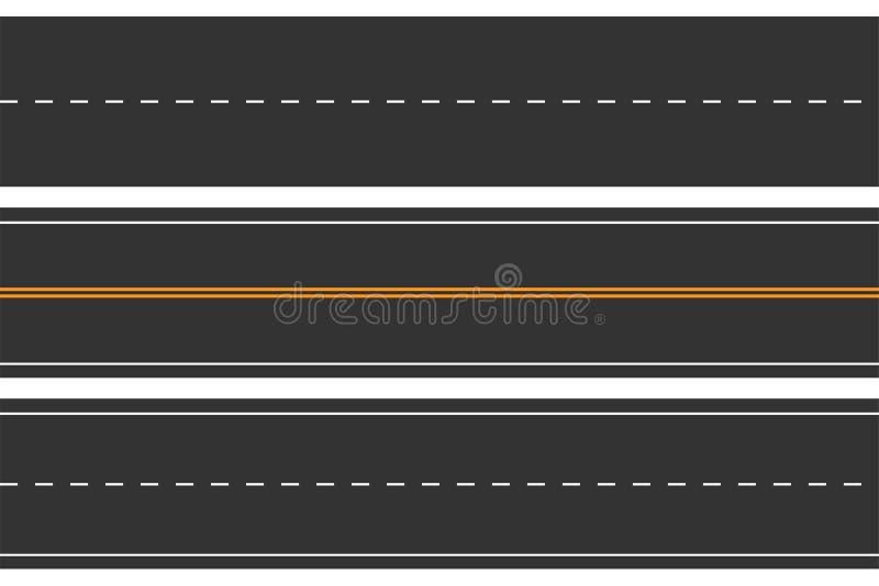Горизонтальные безшовные дороги Комплект дороги асфальта с маркировками Прямой хайвей иллюстрация вектора