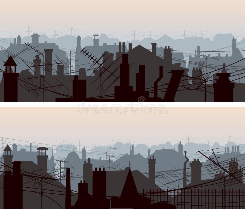 Горизонтальные знамена городских крыш с антеннами и камином бесплатная иллюстрация