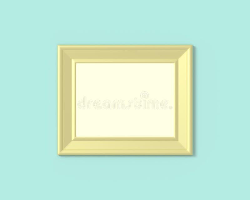 горизонтальный модель-макет рамки ландшафта 3x4 Пробел бумаги Realisitc, деревянных или пластиковых золота для фотоснимков Изолир иллюстрация штока