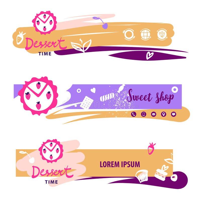 Горизонтальный шаблон знамени для сладкого магазина торта Блог еды с r бесплатная иллюстрация