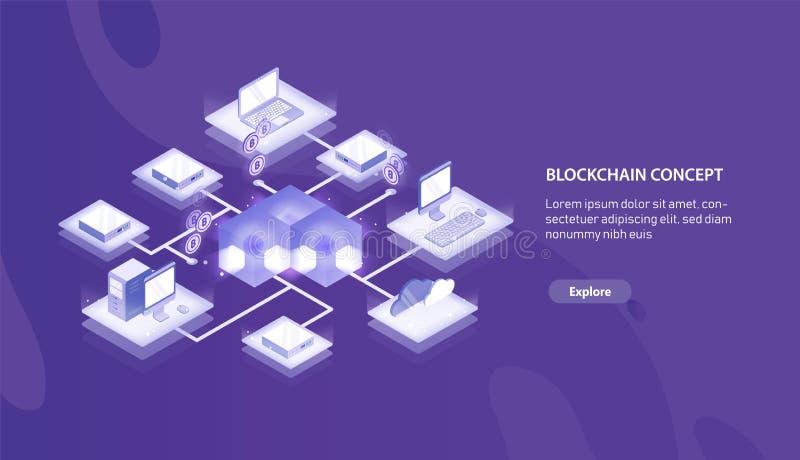 Горизонтальный шаблон знамени с компьютерами подключенными в образование blockchain или сеть и место Bitcoin для текста иллюстрация вектора