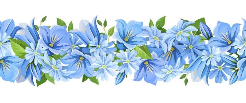 Горизонтальная безшовная граница с голубыми цветками также вектор иллюстрации притяжки corel иллюстрация вектора