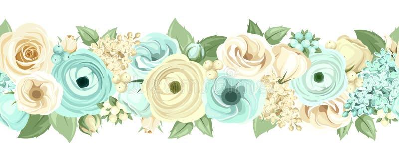 Горизонтальная безшовная предпосылка с голубыми и белыми цветками также вектор иллюстрации притяжки corel иллюстрация штока