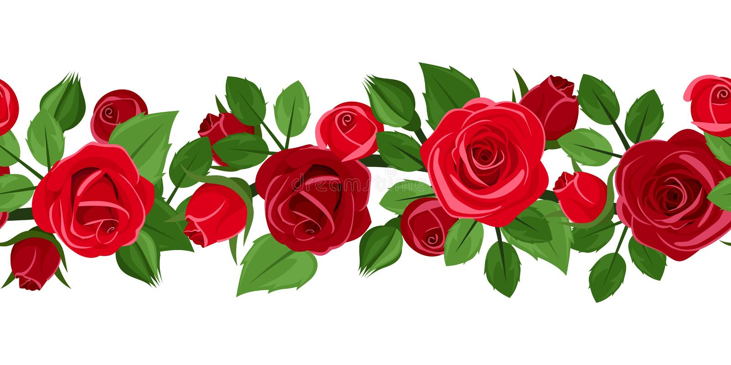 Горизонтальная безшовная предпосылка с красными розами. бесплатная иллюстрация