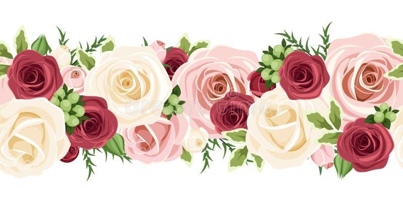 Горизонтальная безшовная предпосылка с красным цветом, пинком и белыми розами также вектор иллюстрации притяжки corel бесплатная иллюстрация