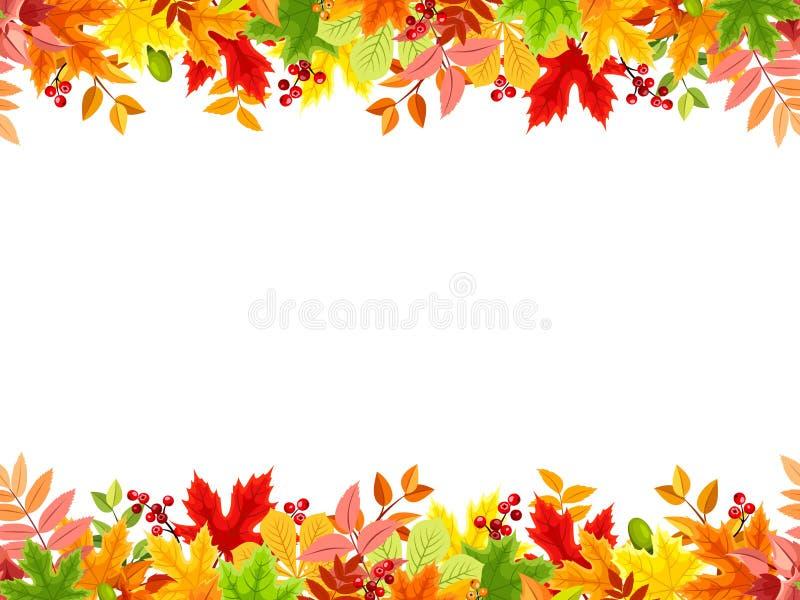 Горизонтальная безшовная предпосылка с красочными листьями осени также вектор иллюстрации притяжки corel бесплатная иллюстрация