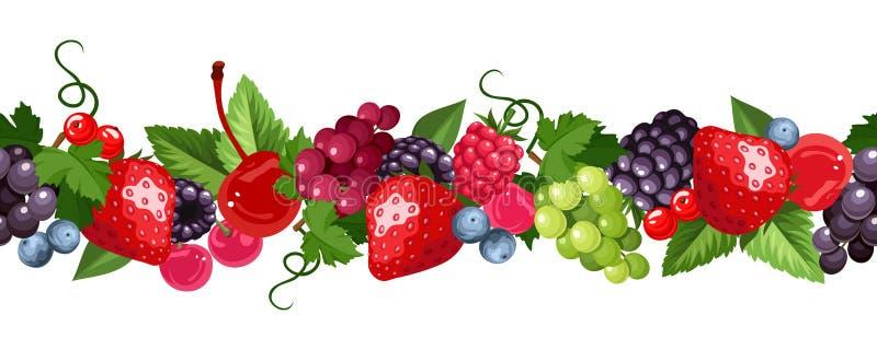Горизонтальная безшовная предпосылка с различными ягодами также вектор иллюстрации притяжки corel иллюстрация штока