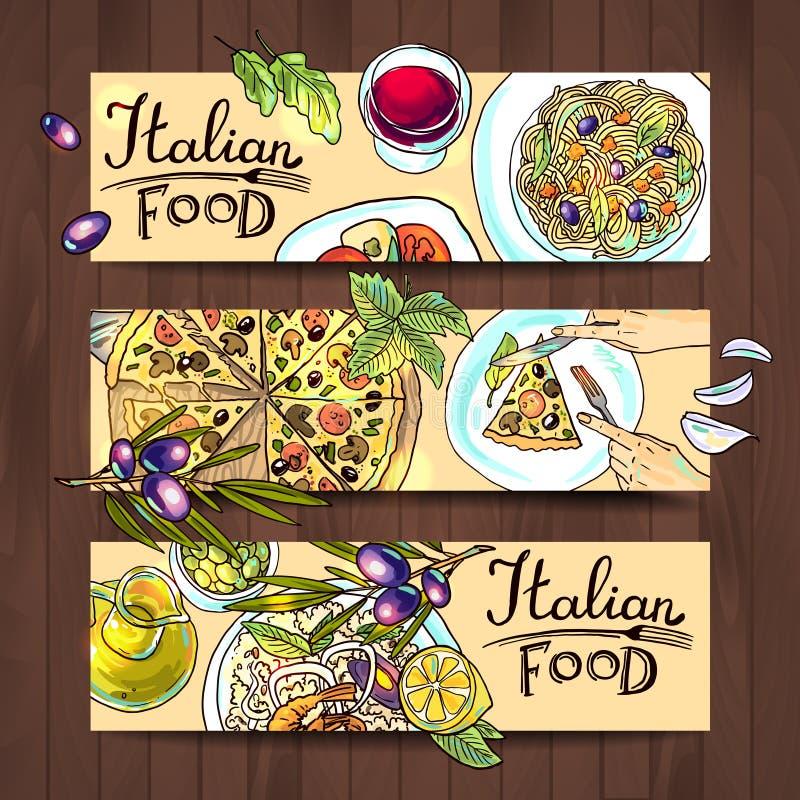 Горизонтальная еда итальянки знамен иллюстрация штока