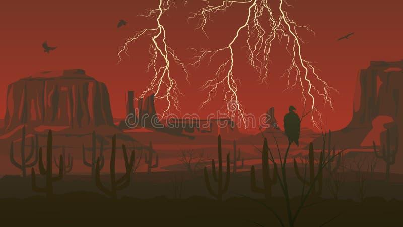 Горизонтальная иллюстрация Диких Западов прерии с грозой l иллюстрация штока