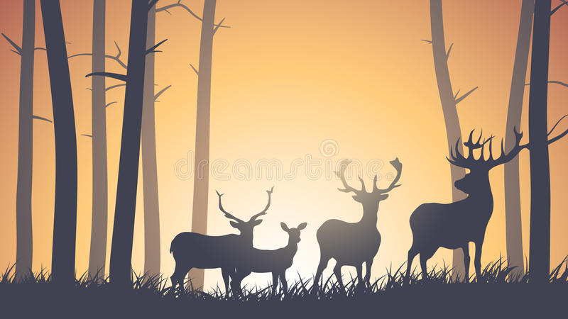 Горизонтальная иллюстрация диких животных в древесине. иллюстрация штока