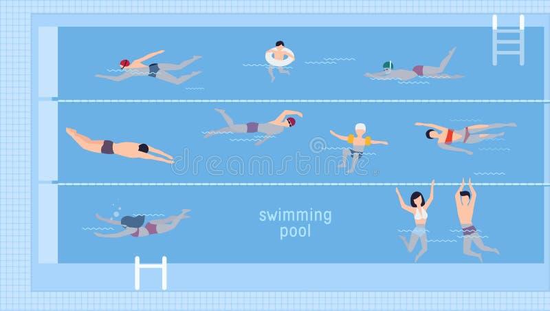 Горизонтальная иллюстрация с пловцами в бассейне Взгляд сверху Различные люди и дети в воде, заплыве в различной иллюстрация штока