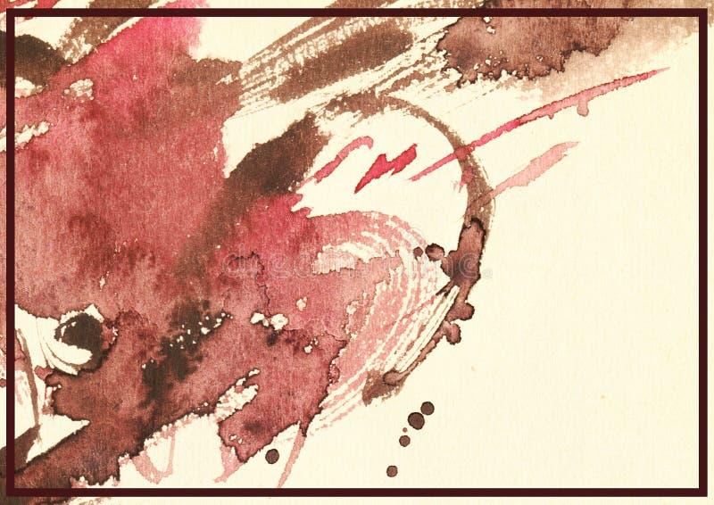 Горизонтальная художническая иллюстрация, рука нарисованная с щеткой и акварель в темноте - красные тени жидкости на бежевой пред иллюстрация штока
