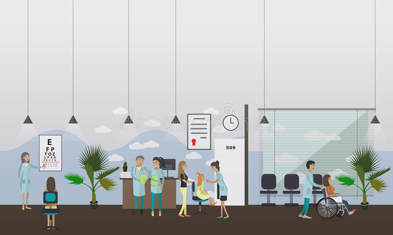 Горизонтальное знамя вектора с докторами и интерьерами больницы стетоскоп дег микстуры лож принципиальной схемы установленный Пац иллюстрация вектора