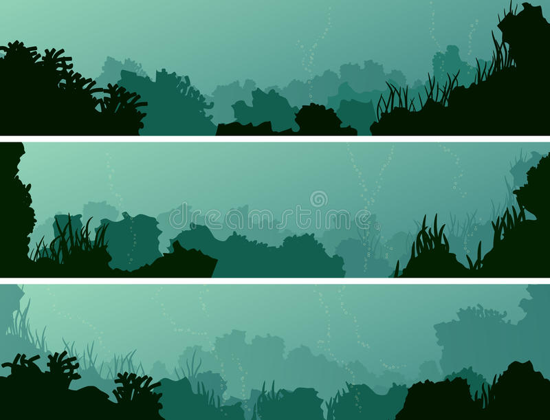 Горизонтальные знамена морского дна с коралловыми рифами и водорослями бесплатная иллюстрация