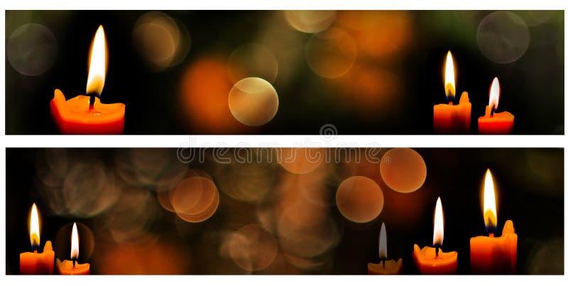 Горизонтальные знамена свечи рождества стоковые фото