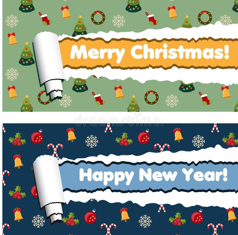 Горизонтальные знамена с сорванной картиной нашивок и зимних отдыхов свернутой бумаги иллюстрация штока