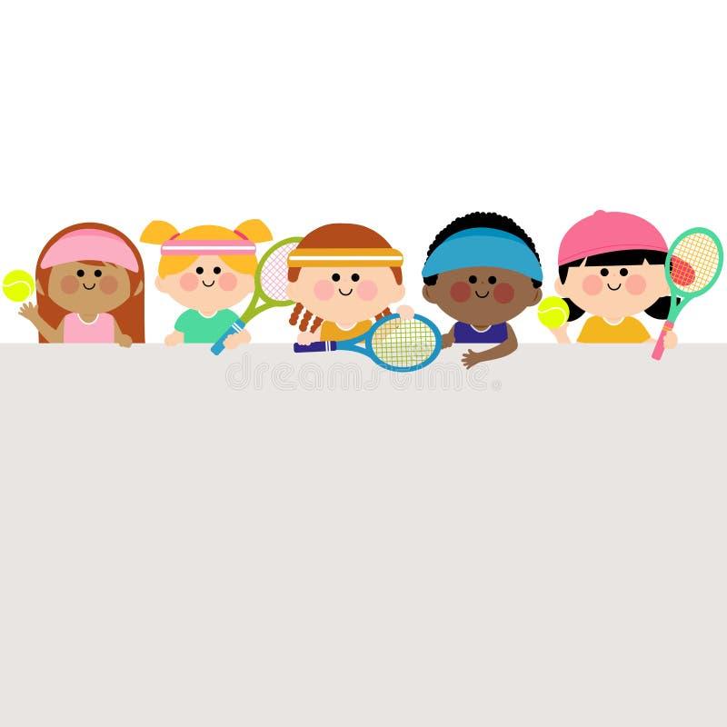 Горизонтальные пустые теннисисты знамени и детей иллюстрация штока