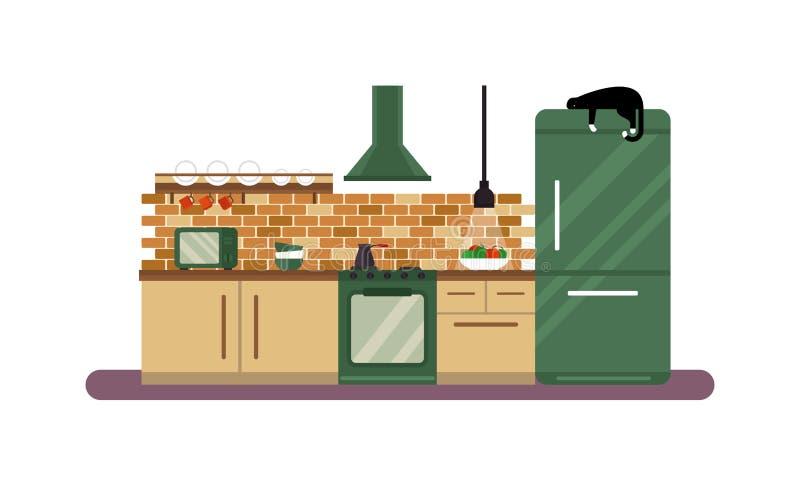 Горизонтальный взгляд современной мебели в иллюстрации вектора роскошного дизайна кухни внутренней плоской бесплатная иллюстрация