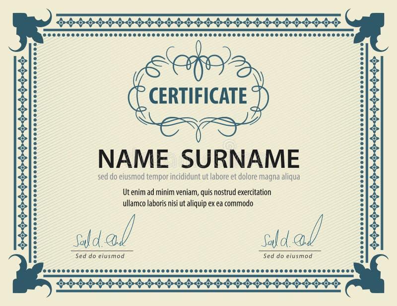 Горизонтальный винтажный шаблон сертификата, диплом, размер письма, положение иллюстрация штока