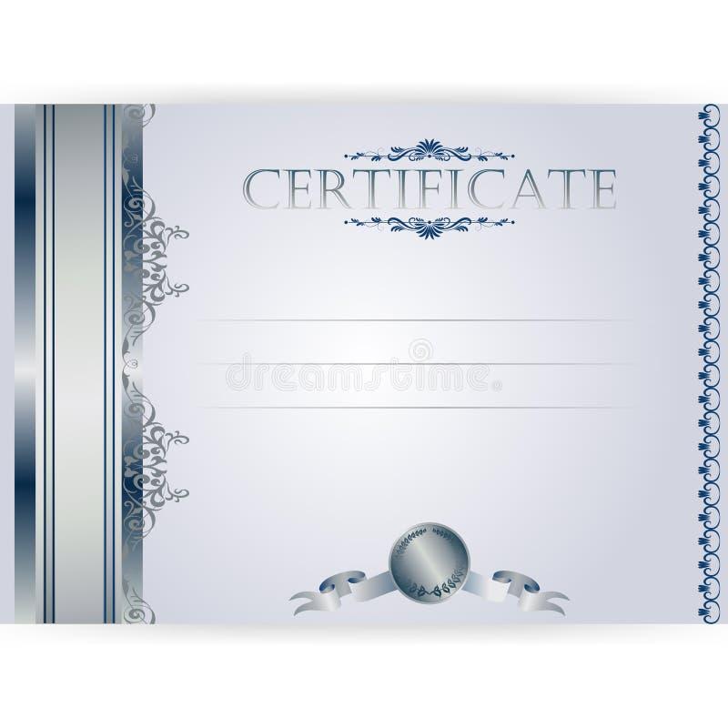 Горизонтальный серебряный сертификат с лавровым венком иллюстрация штока