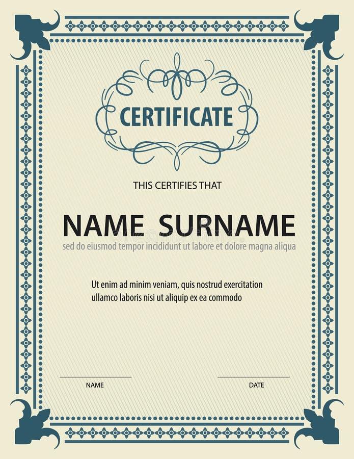Горизонтальный шаблон сертификата, диплом, размер письма, вектор иллюстрация вектора