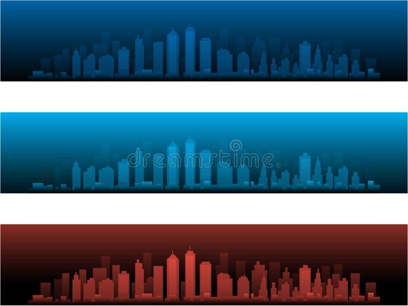 Горизонты города в 2 версиях и заходах солнца ночи иллюстрация вектора