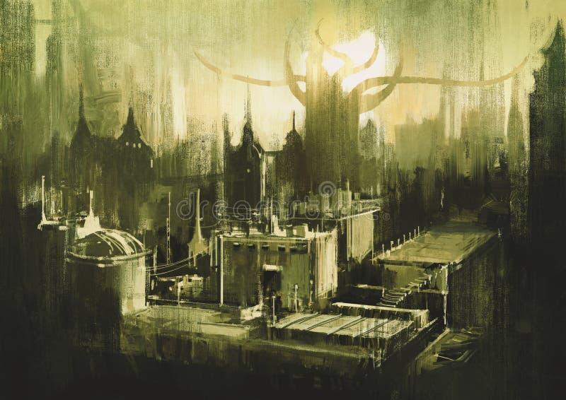 Горизонты и заход солнца темного города иллюстрация вектора