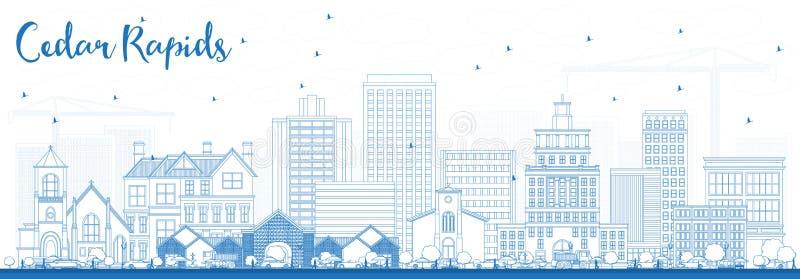 Горизонт Айовы речных порогов кедра плана с голубыми зданиями иллюстрация штока