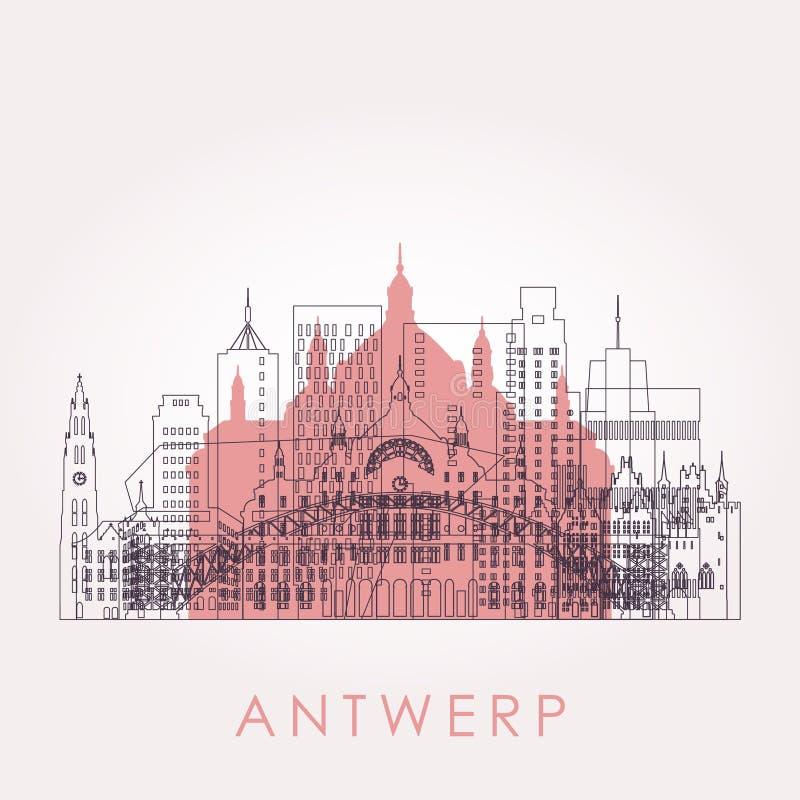 Горизонт Антверпена плана с ориентирами бесплатная иллюстрация