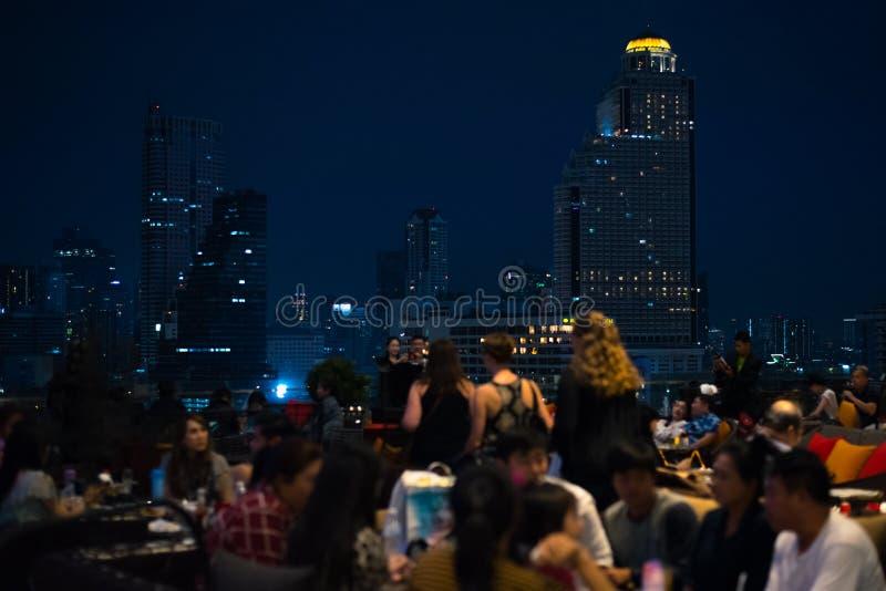 Горизонт Бангкока увиденный от торгового центра Iconsiam стоковая фотография rf