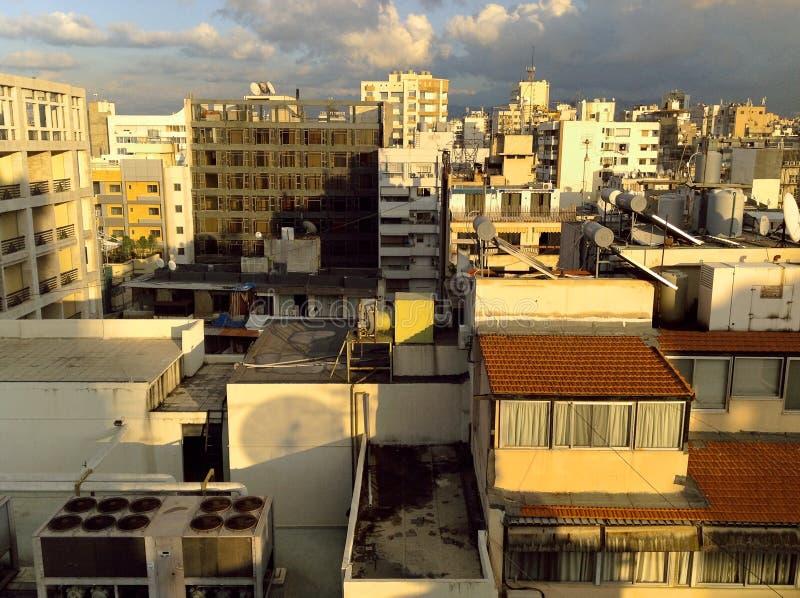 Горизонт Бейрута, Ливана от двенадцатой выгодной позиции рассказа стоковое изображение