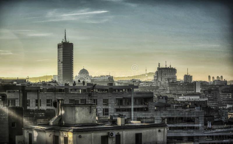 Горизонт Белграда на сумерк стоковые фотографии rf