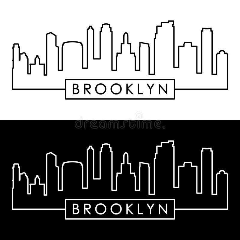 Горизонт Бруклина, Нью-Йорка линейный стиль иллюстрация вектора