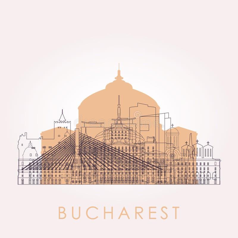 Горизонт Бухареста плана с ориентир ориентирами