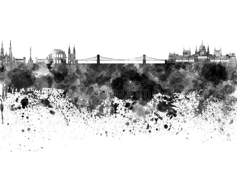 Горизонт Будапешта в черной акварели бесплатная иллюстрация