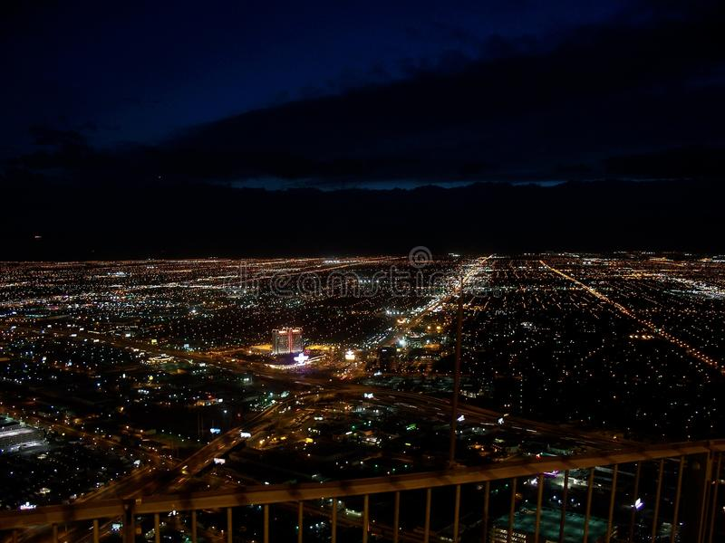 Горизонт Вегас на ноче стоковое изображение