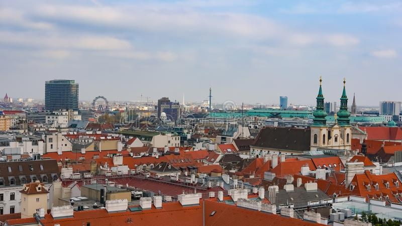 Горизонт вены, Австрия воздушный взгляд вены Австралии Вена Wien прописной и самый большой город Австрии, и одно из 9 стоковое изображение