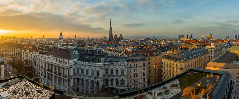 Горизонт Вены на заходе солнца стоковые изображения