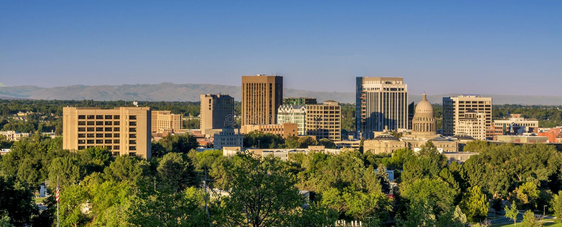 Горизонт взгляда утра Boise Айдахо стоковая фотография rf
