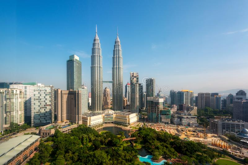 Горизонт в утре, Малайзия Куалаа-Лумпур, Куала-Лумпур столица Малайзии стоковое фото rf