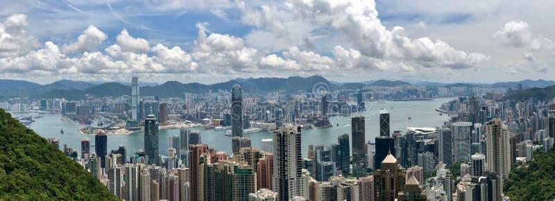 Горизонт Гонконга от пика Виктории стоковые фотографии rf