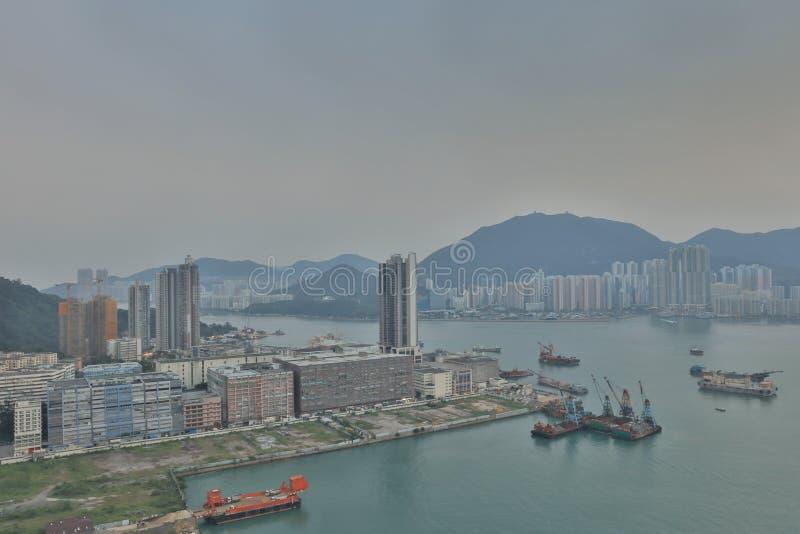 Горизонт Гонконга, района схвата yau стоковое изображение